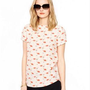 Kate Spade Silk Short Sleeve Flamingo Top Size 2